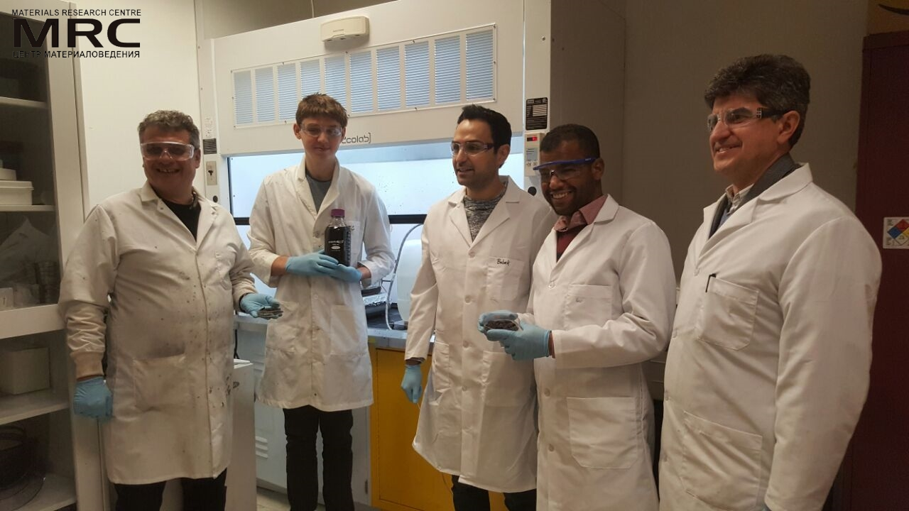 Researchers from the A.J. Drexel Nanomaterials Institute have been studying MXene for nearly half a decade. (L-R): Olekisy Gogotsi (Director of Materials Research Center, Ukraine), Gabriel Scull, Babak Anasori, Mohamed Alhabeb, Yury Gogotsi.