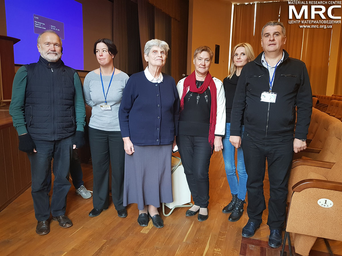 Dr. Arvi Freiberg, University of Tartu, Latvia; prof. Sarah Foley, University of Franche-Comté, France; prof. Baiba Berzina, University of Latvia; prof. Galina Dovbeshko, Institute of physics NAS of Ukraine; Veronika Zahorodna, Materials Research Centre; Oleksiy Gogotsi, director of Materials Research Centre, Ukraine, at 5th Nanobiophysics-2017 conference presented Horizon-2020 MSCA-RISE project Assymcurv