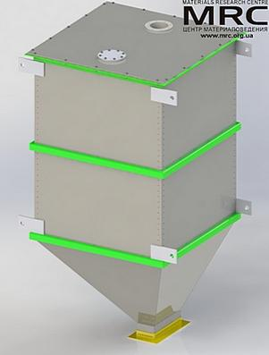 3d model of receiving bin, capacity 1t/hour