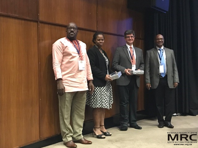 Professor Yury Gogotsi with the Conference Chair Prof. Ncholu Manyala, University of Pretoria (right) and senior representatives of the host organization (CSIR), 1st Africa Energy Materials conference, Pretoria, March 28, 2017