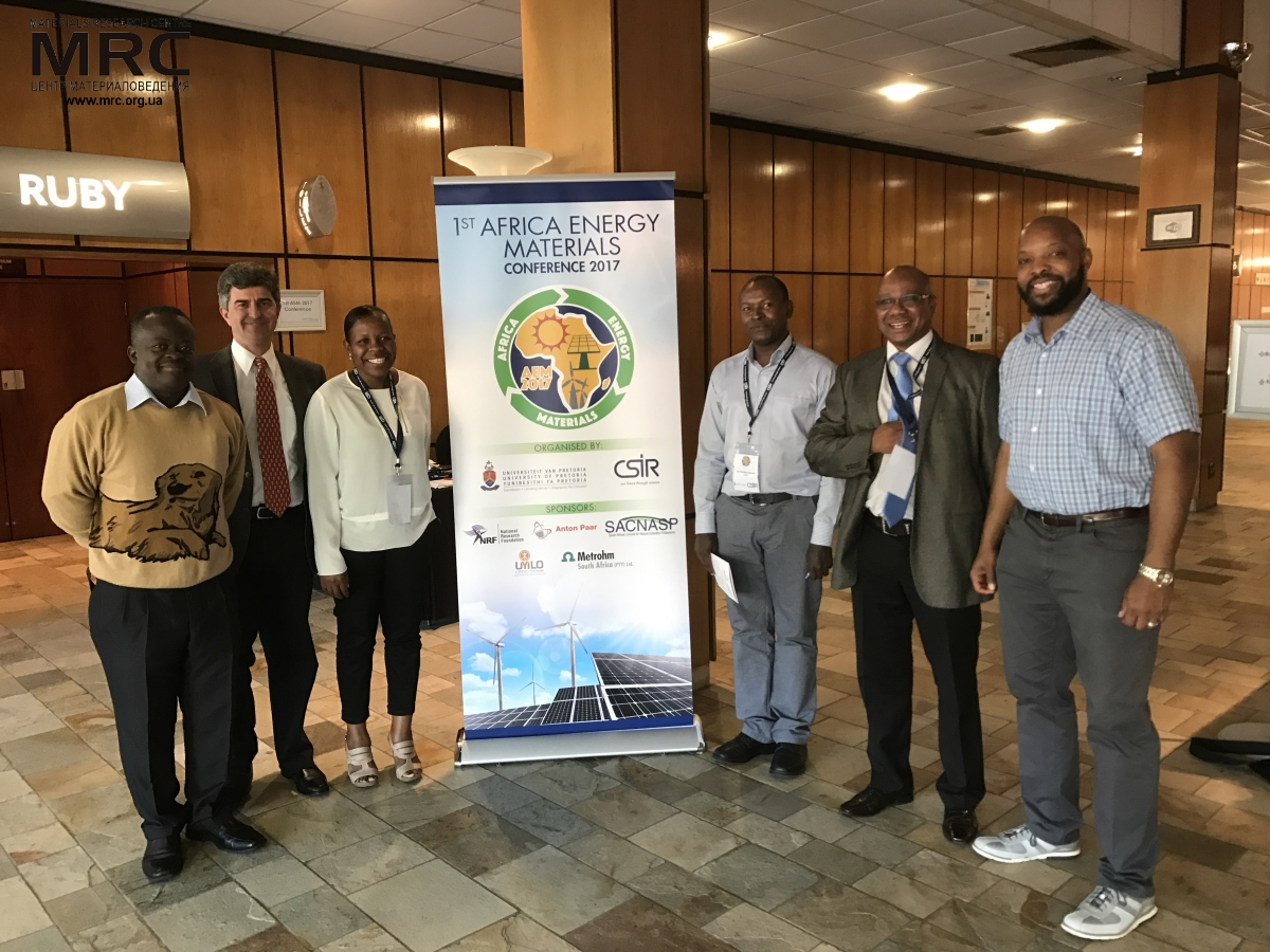 Professor Yury Gogotsi with conference organizers and plenary speakers, 1st Africa Energy Materials conference, Pretoria, South Africa, March 29, 2017