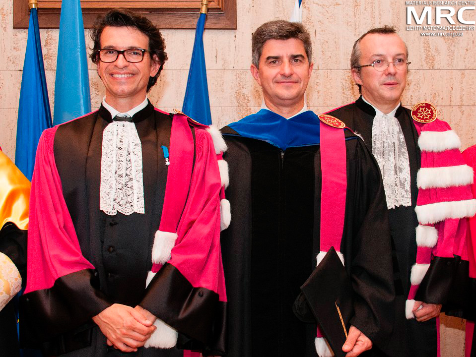 President of Paul Sabatier University, Prof. Bertrand Monthubert, dr. Yury Gogotsi (Drexel University, USA) and prof. Patrice Simon (Paul Sabatier University of Toulouse III, France) at Doctor Honoris Causa award ceremony