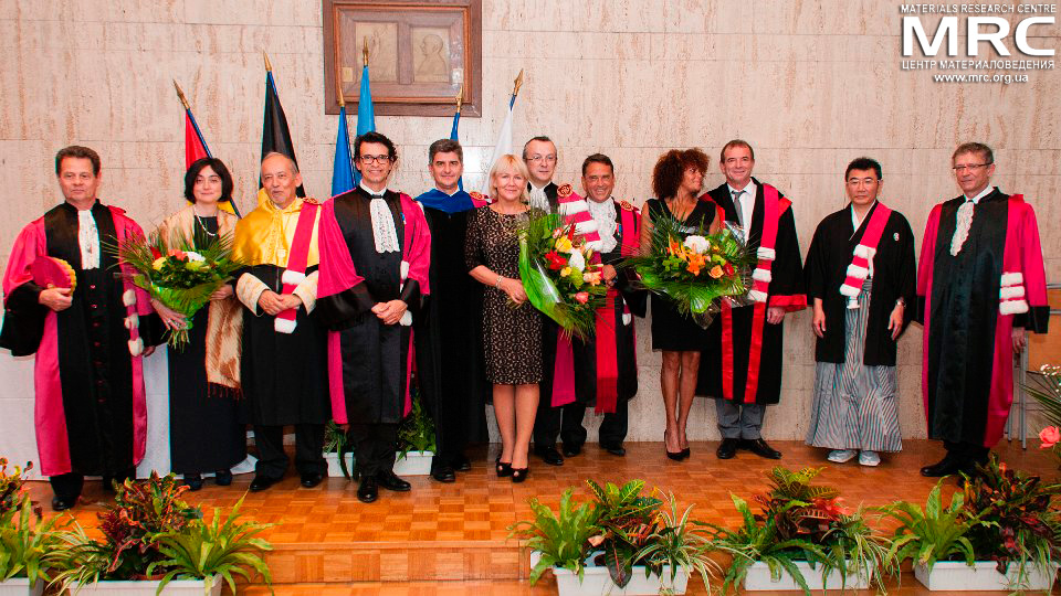 Doctor Honoris Causa laureats and guests at  Paul Sabatier University of Toulouse III, France on October 08, 2014.