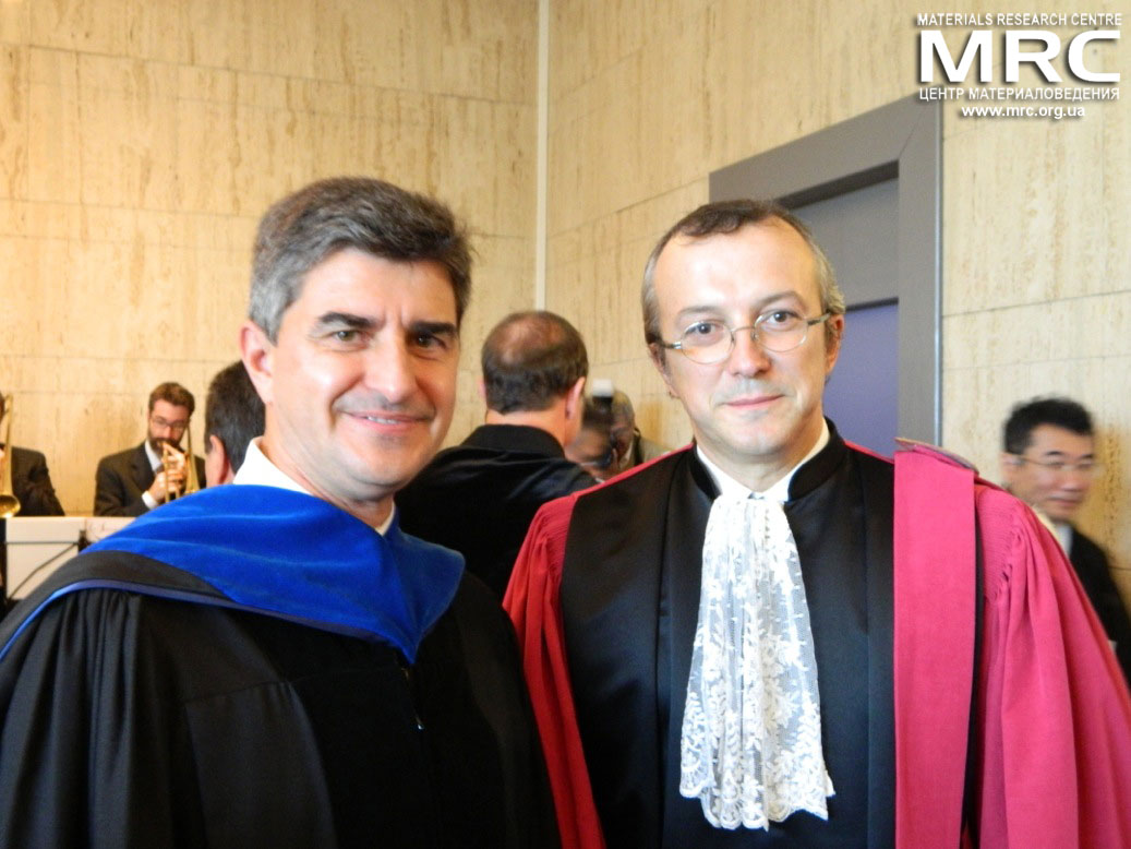 Dr. Yury Gogotsi (Drexel University, USA) and prof. Patrice Simon (Paul Sabatier University of Toulouse III, France) at Doctor Honoris Causa award ceremony