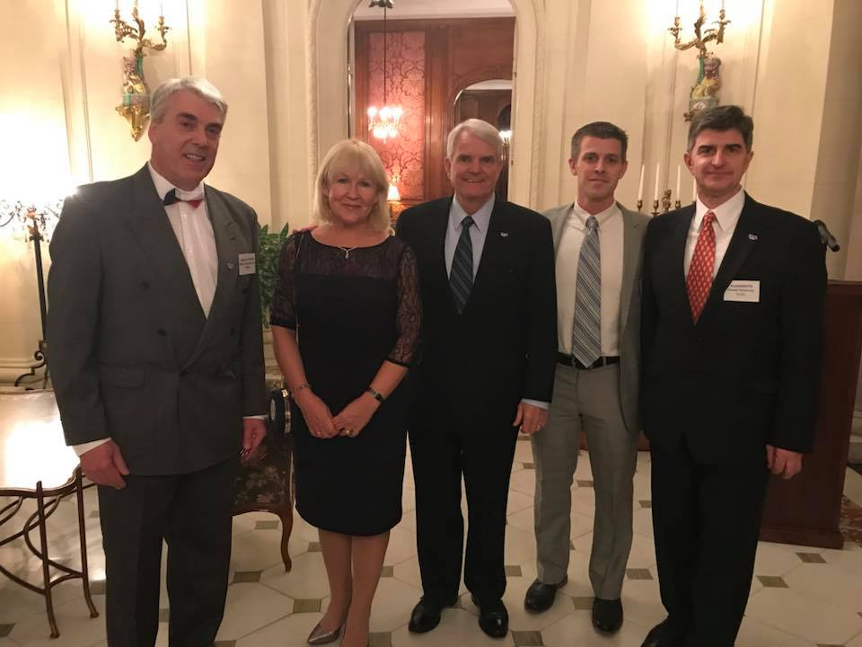 In the US Ambassador's residence (from left to right): Stephen D. O'Regan (ONR Global), Larissa Gogotsi, Ambassador Stephen B. King, Joshua Caldwell (Vanderbilt University) and Yury Gogotsi (Drexel University)