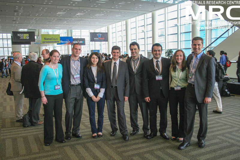 Drexel Nanomaterials Research Team, headed by professor Yury Gogotsi, at The 2013 Materials Research Society Spring Meeting, April 2013. From left to right: Katie Van Aken, ohn K. McDonough, Maria Lukatskaya, prof. Yury Gogotsi, Carlos Perez, Majid Beidaghi, Kelsey Hatzell,  Boris Dyatkin