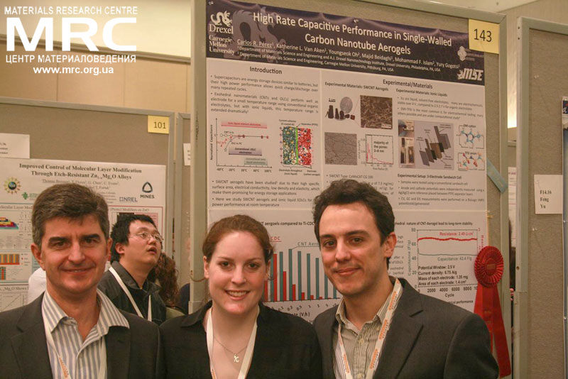 During the Poster Session, prof. Yury Gogotsi, Katie Van Aken, Carlos Perez