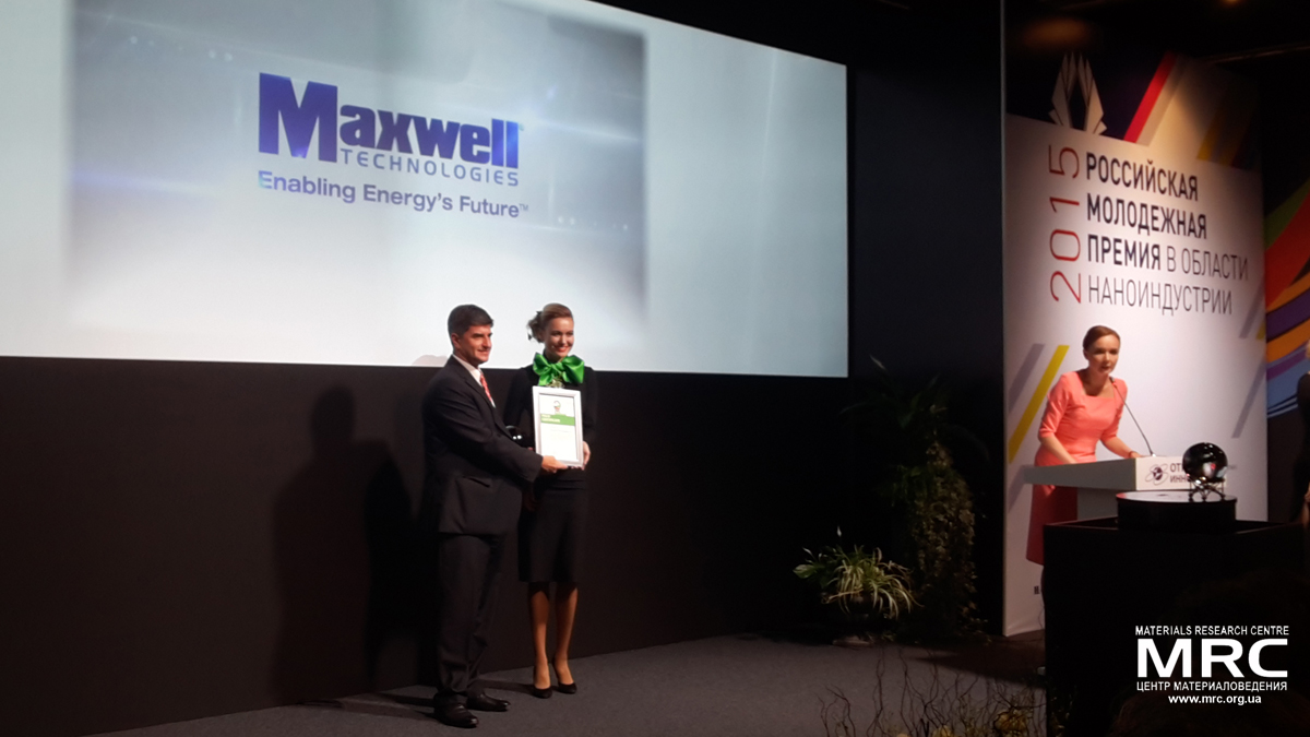 Professor Yury Gogotsi received the RUSNANOPRIZE Award for Maxwell Technologies Inc. Award Ceremony of RUSNANOPRIZE 2015, Open Innovations Forum, Moscow, October 28, 2015