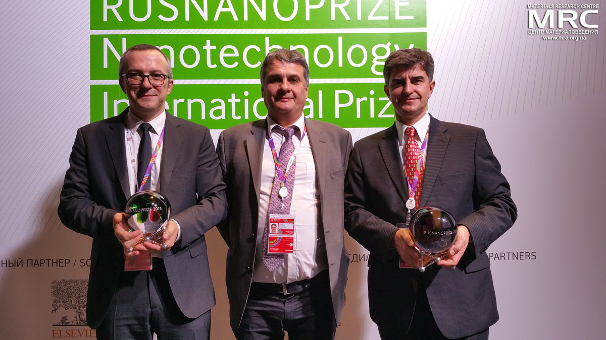 RUSNANOPRIZE 2015 laureate prof Patrice Simon, Director of Materials Research Centre Oleksiy Gogotsi, Rusnanoprize 2015 laureate prof. Yury Gogotsi at Award Ceremony of RUSNANOPRIZE 2015, Open Innovations Forum, Moscow, October 28, 2015
