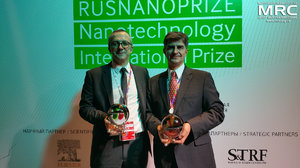 Award Ceremony of RUSNANOPRIZE 2015 Laureats Yury Gogotsi, Distinguished University Professor and Trustee Chair at Drexel University, Department of Materials Science and Engineering, Director of the A.J. Drexel Nanomaterials Institute, Member of the Board of Materials Research Society, MRS and Patrice Simon, Professor in Materials Sciences at Paul Sabatier University, at Open Innovations Forum, Moscow, October 28, 2015