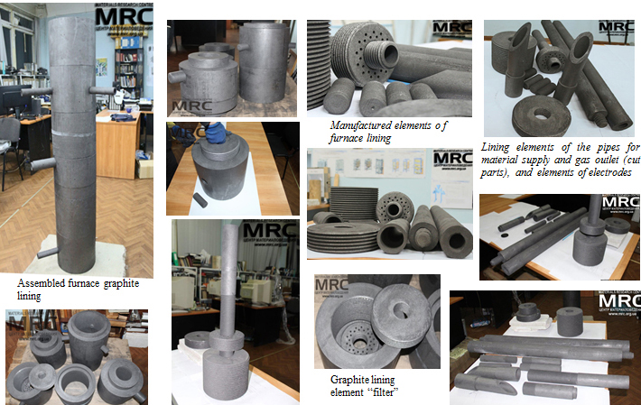 manufactured and assambled graphite lining and electrodes of the furnace