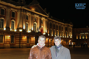 MRC director Oleksiy Gogotsi and prof. Yury Gogotsi, director of DNI, Drexel University, USA,at the Place du Capitole, Toulouse ,February 2013