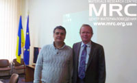 Materials Research Centre's director Oleksiy Georgievich Gogotsi and prof. Lyshevski, Rochester university, USA in NTUU KPU, October 18, 2012