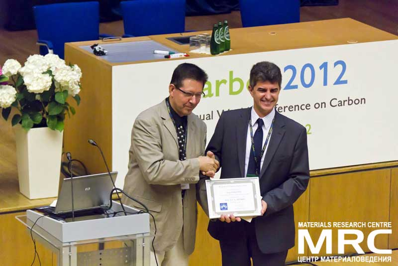 Dr. Yury Gogotsi, director of the A.J. Drexel Nanotechnology Institute received ECA Award 2012 from Мarc Мonthioux