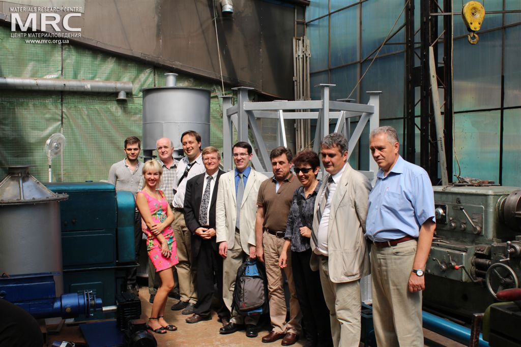 At the photo from left to right: I. Sagal and Y. Zozylia (MRC), Deputy Executive Director (USA) Vic Korsun (STCU), Igor Barsukov (American Energy Technologies Company, USA), Dave Carter and Andrew Castiglioni (Argonne National Laboratory, USA), project manager S.Saenko (KIPT), I.Tomashevskaya (STCU), O.Gogotsi, MRC Director, project manager M.Gubinskiy (NMetAU)