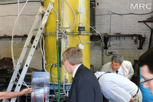 At MRC work premises O.Gogotsi presented manufactured annealing furnace, 2500 C , to american partners: Dave Carter (Argonne National Laboratory, USA), Igor Barsukov (American Energy Technologies Company, USA), and Andrew Castiglioni (Argonne National Laboratory, USA), Materials Research Centre, August 2013
