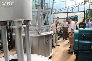 Project participants at MRC work premises observed equipment manufactured by MRC. From left to right: O.Gogotsi, Director of Materials Research Centre,  STCU's Deputy Executive Director (USA) Vic Korsun, Igor Barsukov (American Energy Technologies Company, USA), Andrew Castiglioni (Argonne National Laboratory, USA), project manager M.Gubinskyi (NMetAU), Materials Research Centre, August 2013