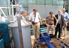 At the photo from left to right: O.Gogotsi, MRC Director, Igor Barsukov (American Energy Technologies Company, USA), project manager S.Saenko (KIPT), project technical monitor Dave Carter (Argonne National Laboratory, USA), project manager M.Gubinskyi (NMetAU), at MRC work premises, August 2013