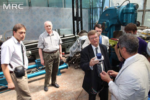 Checking the control system and automatics for equipment, manufactured by MRC: Igor Barsukov (American Energy Technologies Company, USA), Deputy Executive Director (USA) Vic Korsun (STCU), project technical monitor Dave Carter and Andrew Castiglioni (Argonne National Laboratory, USA), O.Gogotsi, MRC Director, T. Moshnyaga (MRC), Materials Research Centre, August 2013