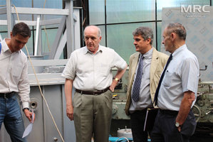 Expeditor, Vic Korsun (STCU Deputy Executive Director (USA), O. Gogotsi (Materials Research Centre),   project collaborator Joseph Doninger (Dontech Global Inc., USA), Materials Research Centre, August 2013