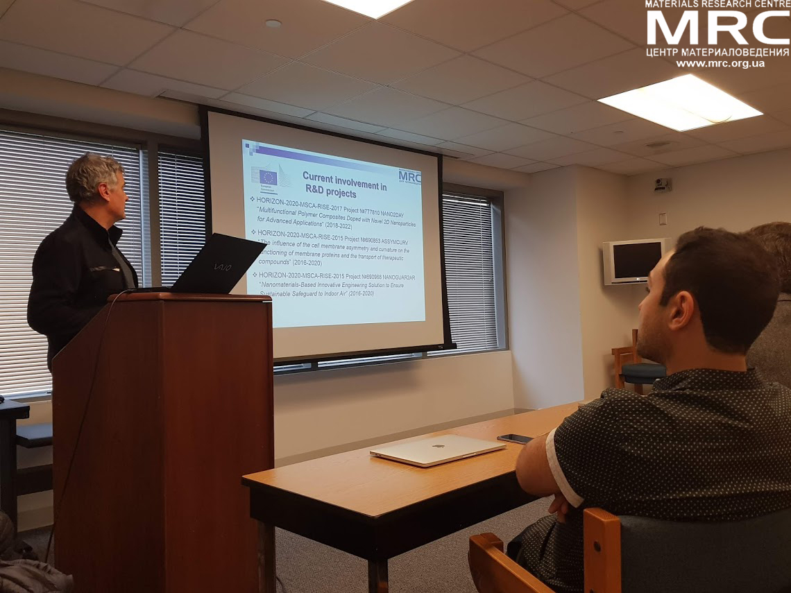 MRC director Oleksiy Gogotsi at the work meeting in Drexel University, Philadelphia, USA, made a presentation of the company and its activitties in international r&d projects