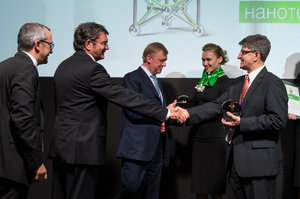 Rusnanoprize 2015 Award ceremony. From left to right - prof. Patrice Simon, Paul Sabatier University (Toulouse, France), prof. Dieter Bimberg,Executive director of the Center of Nanophotonics at Institute of Solid State Physics, Technical University of Berlin, Chairman of the Executive Board of RUSNANO Anatoly Chubais and prof. Yury Gogotsi, Drexel University (USA)