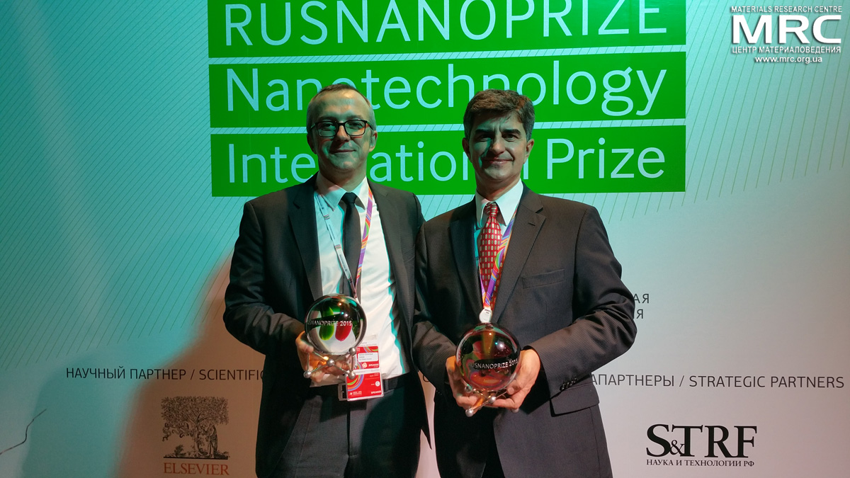 Award Ceremony of RUSNANOPRIZE 2015 Laureates Patrice Simon, Professor in Materials Sciences at Paul Sabatier University and Yury Gogotsi, Distinguished University Professor and Trustee Chair at Drexel University, Department of Materials Science and Engineering, Director of the A.J. Drexel Nanomaterials Institute, Member of the Board of Materials Research Society, MRS and  at Open Innovations Forum, Moscow, October 28, 2015