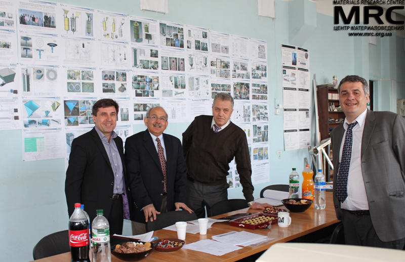 Working meeting participants from left to right: S.Saenko(KIPT), Upendra S. Rohatgi(Brookhaven National Laboratory, USA), M.Gubinskiy(NMetAU) and O.Gogotsi (Materials Research Centre)