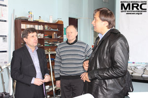 "At the photo from left to right:   project manager on the project ""New Materials for Electric Drive Vehicles"" S. Saenko (KIPT), M.Brodnikovskiy(Materials Research Centre), I. Barsukov (AETC, USA)"