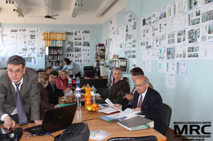 From left to right:  O.Gogotsi (Materials Research Centre), N.Dudko(STCU), S. Saenko (KIPT), M.Brodnikovskiy, Yu.Zubets , A.Ustyuzhanina (Materials Research Centre), M.Gubinskiy(NMetAU), I. Barsukov (AETC, USA), Upendra S. Rohatgi(Brookhaven National Laboratory, USA)