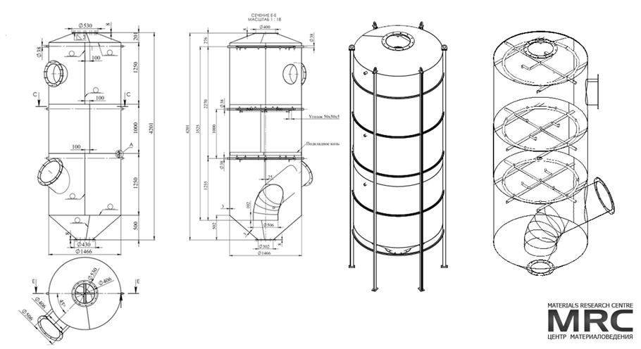 engineering design drawings and 3d model of the wet scrubber